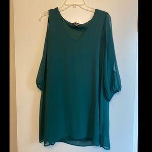 Lulu's V Neck Cold Shoulder Lined Mini Dress